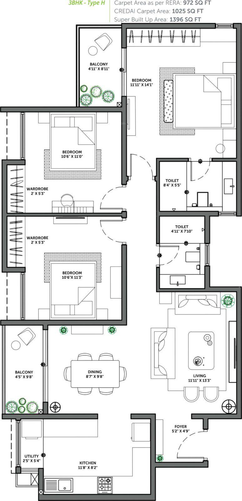Assetz 63 Degree East - 3 BHK Floor Plan