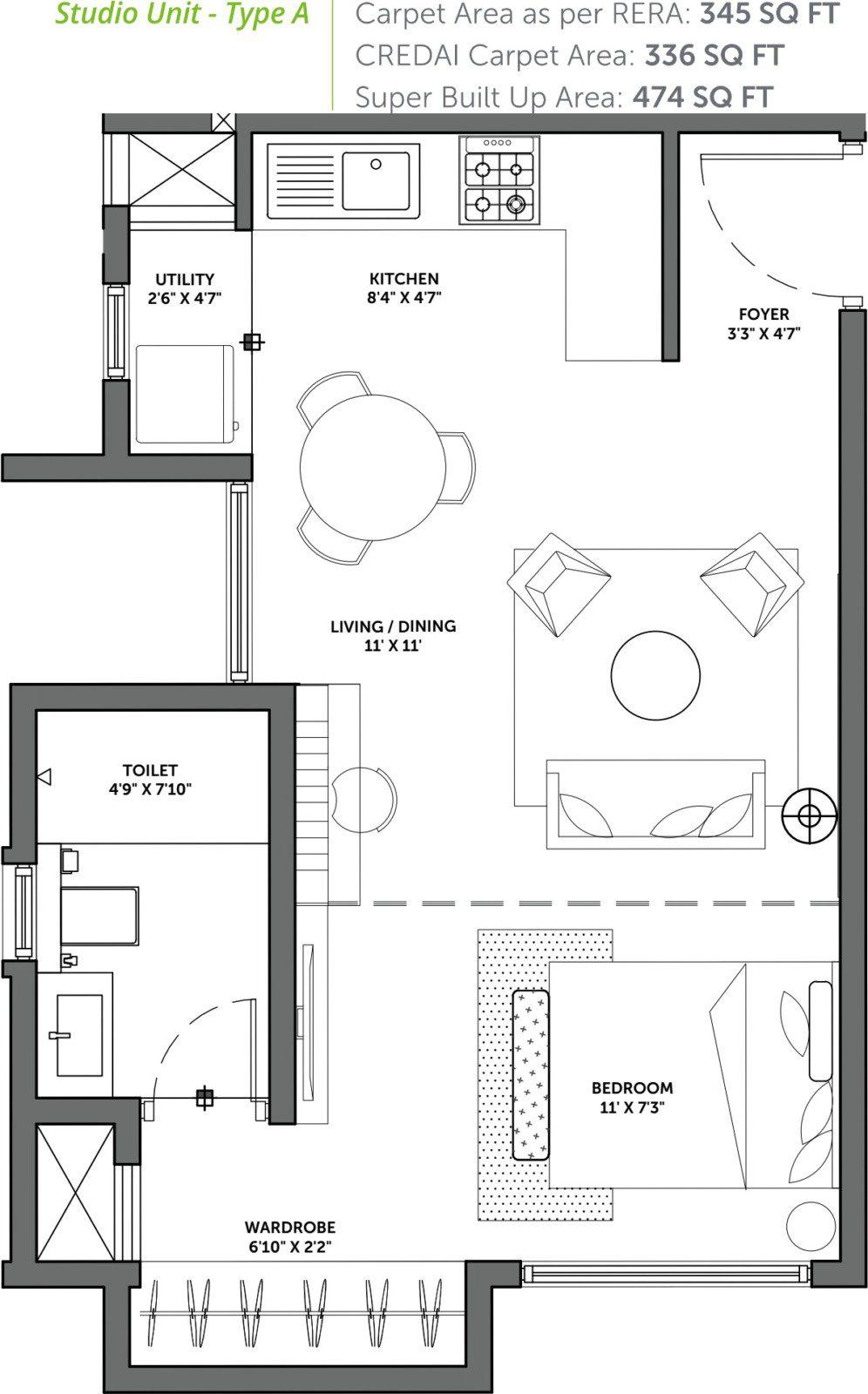 Assetz 63 Degree East - 1 BHK Floor Plan