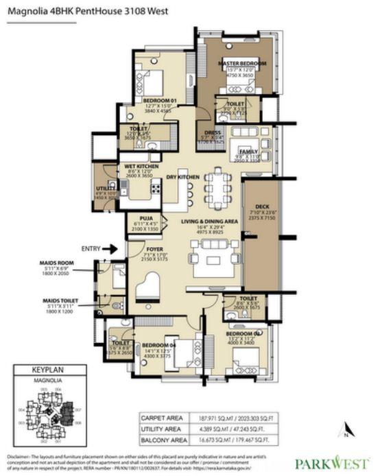 Shapoorji Pallonji ParkWest 4 BHK Floor Plan
